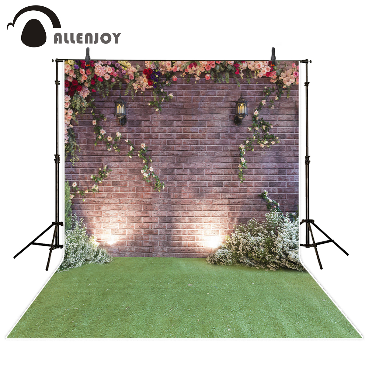 Allenjoy photography background brick wall lawn flower wedding or baby and newborn for photos background for photographic studio