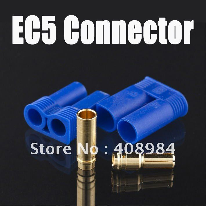 1 pair EC5 RC Connector Female Male Bullet Gold Connector plug For RC Lipo Battery 25%off adapter sma plug male to 2 sma jack female t type rf connector triple 1m2f brass gold plating vc657 p0 5