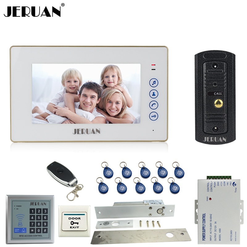 JERUAN 7``LCD Touch key Video Door phone Intercom System kit 1 Monitor Full Metal 700TVL IR Pinhole Camera RFID Access Control jeruan home 7 video door phone intercom system kit 1 white monitor metal 700tvl ir pinhole camera rfid access control in stock