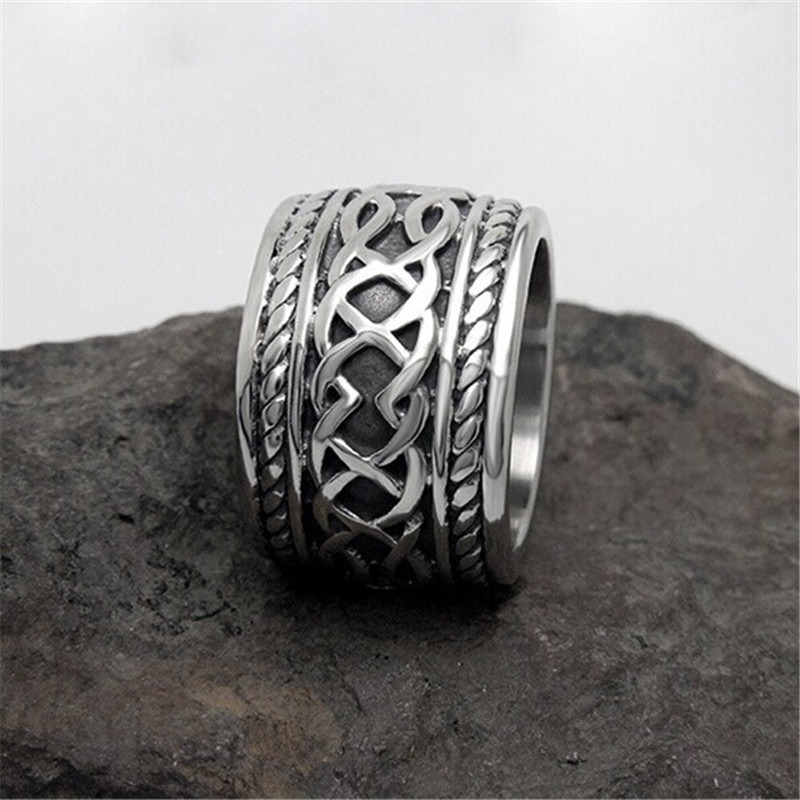Vintage Punk Ring Set Unique Carved Antique Silver Totem Leaf Lucky Rings for Women Boho Beach Jewelry