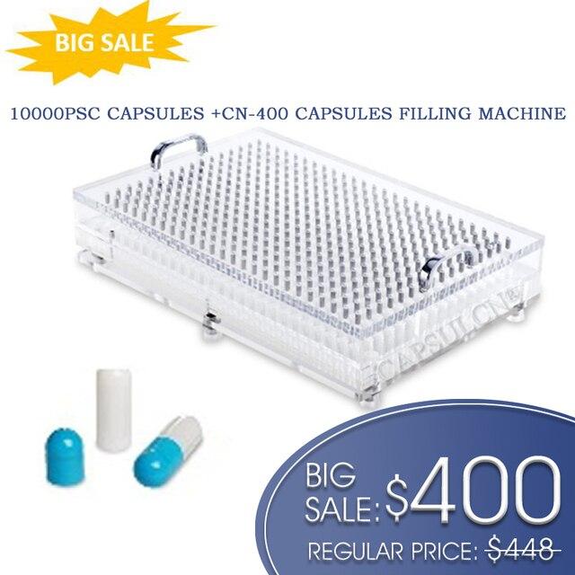 سعر كبير! CN 400 آلة تعبئة الكبسولة مع 10000 قطعة حجم منفصل 0 ألوان متعددة كابسولات جيلاتينية