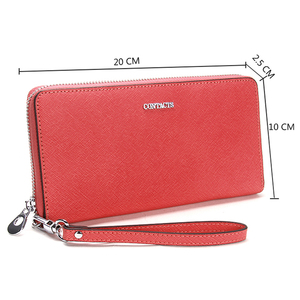 Image 2 - Contacts 2020 New Brand Design Genuine Leather Woman Wallets Cell Phone Card Holder Female Purse Clutch Women Wallet With Zipper