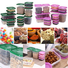 17 Pcs Plastic Pantry Organizer Bins Kitchen Plastic Food Storage Tank Sealpot Box цена