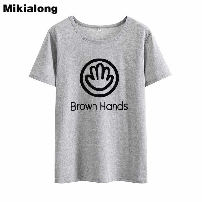 de250df2d ... OLN 2018 BROWN HANDS Letter Ulzzang T-shirt Women Tops Tee Shirt Femme  Graphic Hipster ...