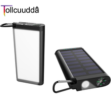 New Metal Edge Solar Power Bank 10000mAh Camping Lights Portable Charger With Compass External Battery Dual USB For All Phones