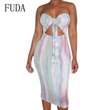 FUDA Sexy Off Shoulder Tie-up Tube Dress Summer Women Basic Bodycon Sundress Strapless Stretchy Bandage Robe Femme Plus Size XXL