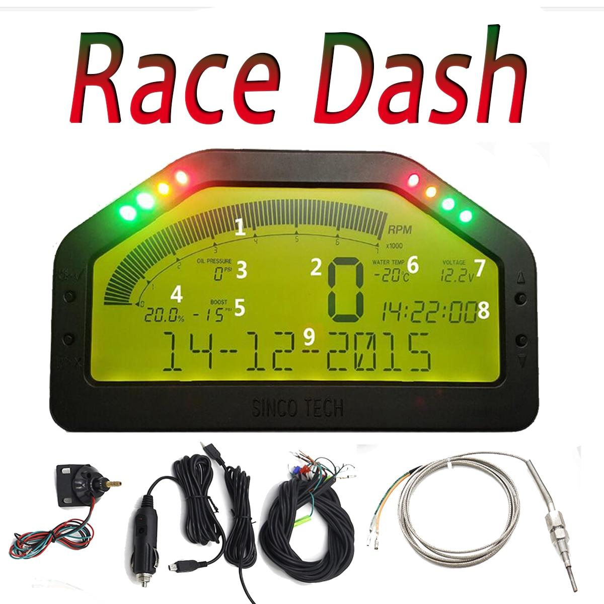 Nouveau Étanche 9000 rpm Dash Course Affichage Capteur Plein Kit Tableau de Bord LCD Écran Rallye Jauge Avec Bluetooth Fonction