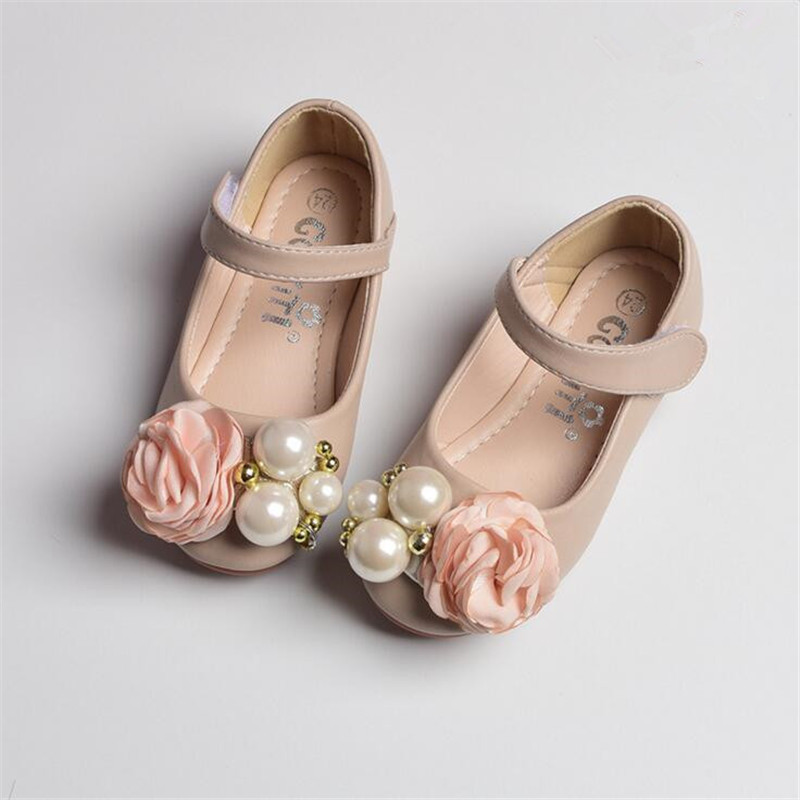 Spring Genuine Children's Shoes High-grade Pearl Flowers Girls Leather Shoes Children Princess Party Dance Wedding Flat Shoes