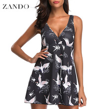 Zando  Red-crowned Crane Print One Piece Swimsuit Women Swimwear Bandage Cut Out Mnokini Bathing Suit Plus Size S-5XLL