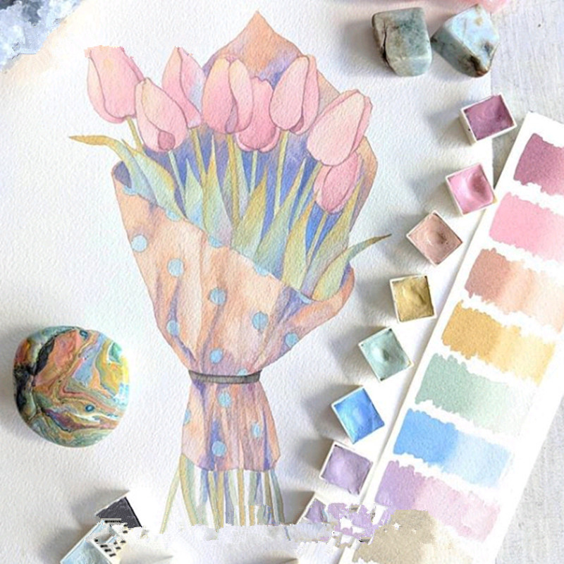 Paquet importé Transparent solide aquarelle peinture costume 12 couleurs/ensemble esquisse Portable voyage main livre peinture