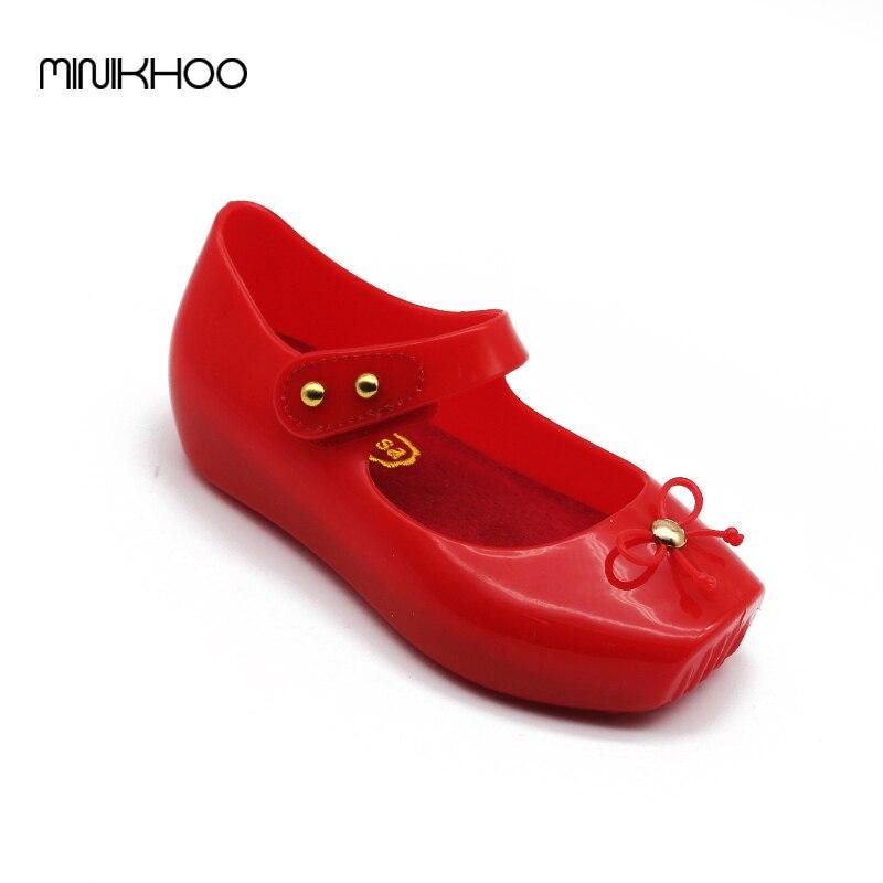 Mini Melissa 2017 Ballet Shoes Melissa Girls Jelly Shoes Bow Ballet Shoes Soft Comfort 3 Color High Quality Children Sandals