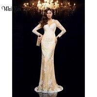 WEIYIN Высокое качество Кружева длинным Русалка вечернее платье вечерние Для женщин выпускного вечера вечерние платья Robe de Soiree