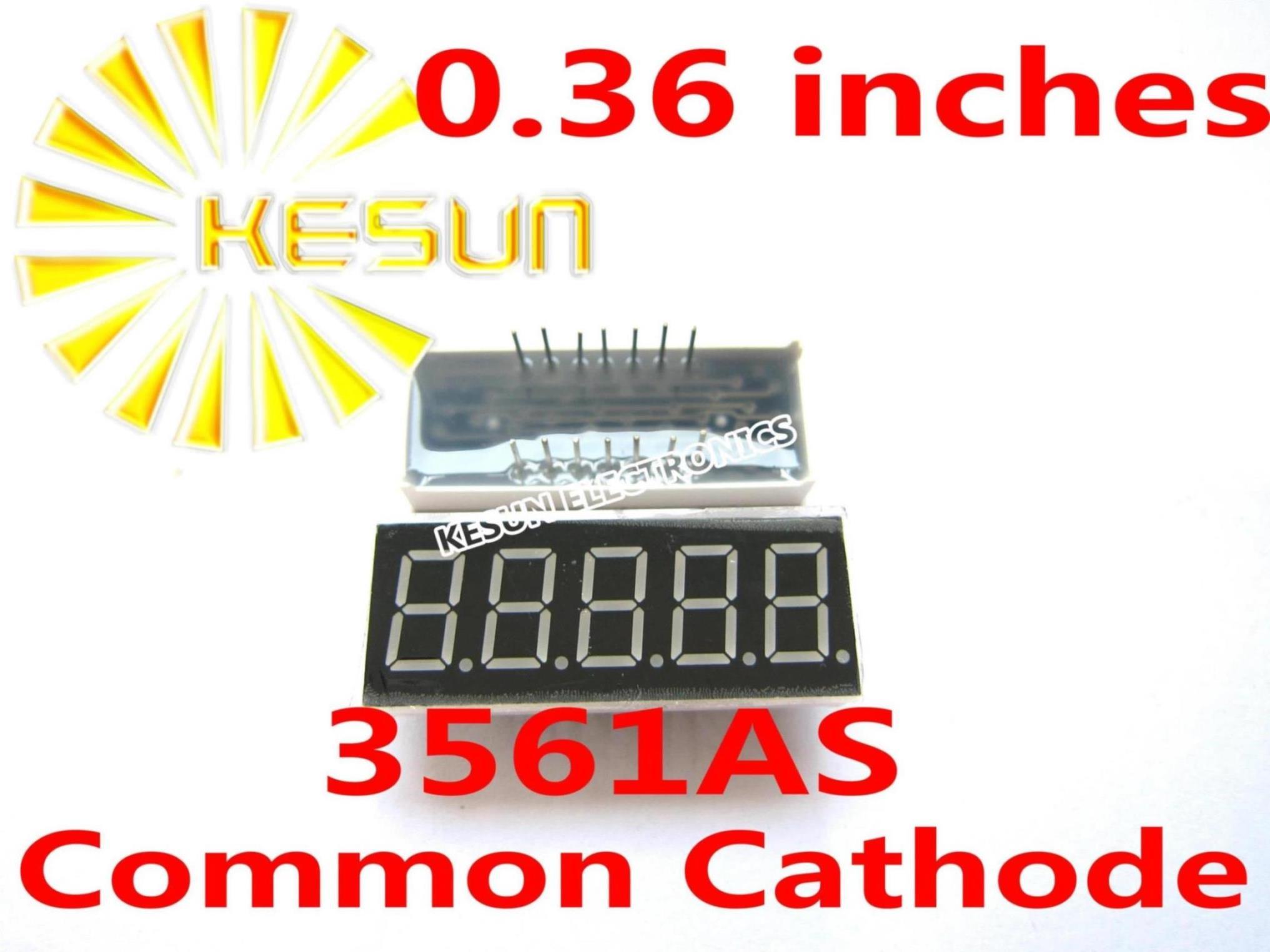 50PCS X 0.36 Inches Red Blue Jade Green 5 Digital Tube 3561AS 3561BS 3561AB 3561BB 3561AGG 3561BGG LED Display Module