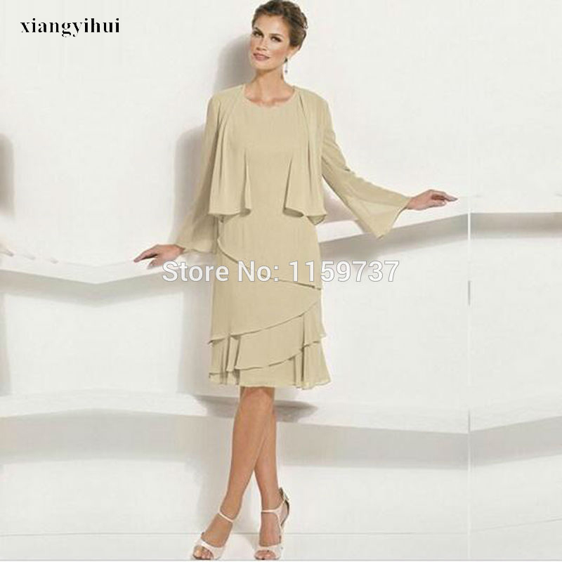 European New Style Chiffon Mother Dress Long Sleeve Jacket