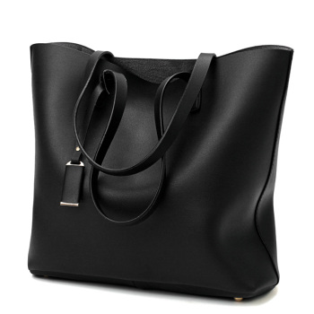 Women's PU Leather Tote Bag - Handbag With Purse Pocket Women Shoulder Large Tote Bag