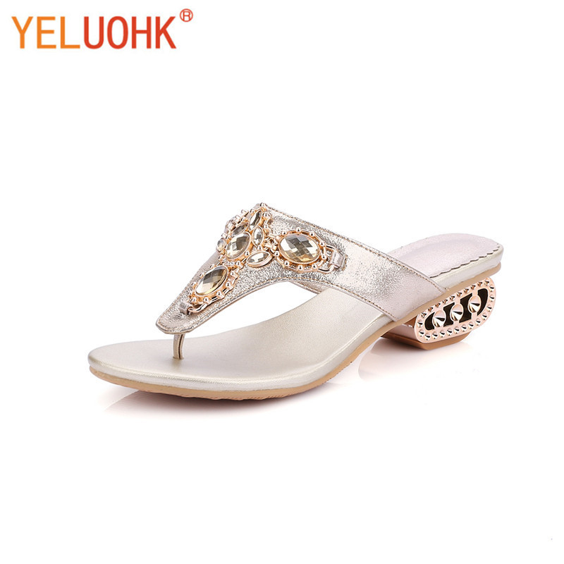 35 43 Plus Size Flip Flops Women High Quality Med Heel -1164