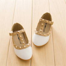 2020 girls sandals fashion casual girls leather shoes baby princess shoes dancing flats infant fashion flats girls rivet shoes cheap New Lan DiLi Basic Hook Loop rubber Children casual shoes