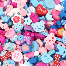 100pcs Various Candy Wood Beads 13-30mm for Baby Toys Crafts Kids Toys & Pacifier Clip Necklace DIY Wooden Spacer Beads