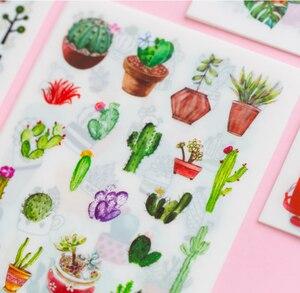 Image 3 - 20Packs/Lot Leuke Cactus Bloem Serie Foto Scrapbooking Decoratie Sticker Zelfklevende Stok Label Groothandel