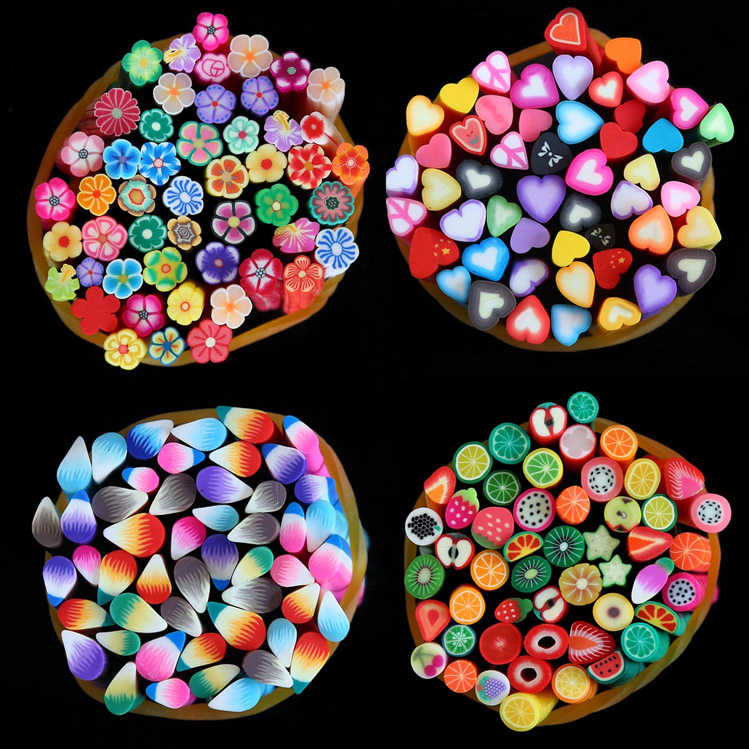 100 PCS Cuttable DIY 3D Nail Art Manicure Craft Polymer Clay Pattern Decorations Stickers Stick Rod Tools