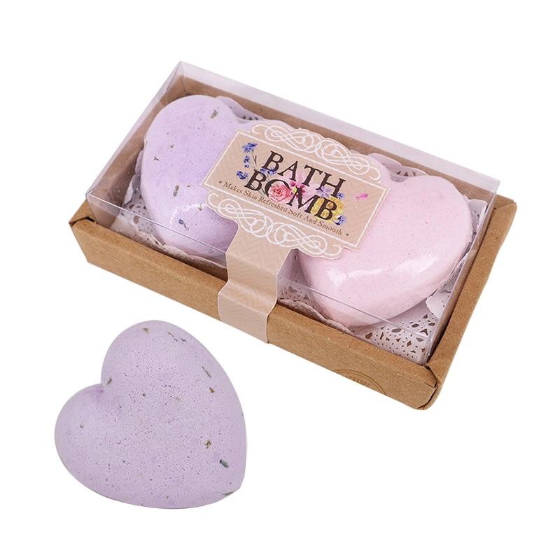 2pcs/set Bubbles Bath Bombs With Gift Set Lavender Bath Bombs For Bathroom Massage Natural Sea Salt Romantic Organic Bath Spa