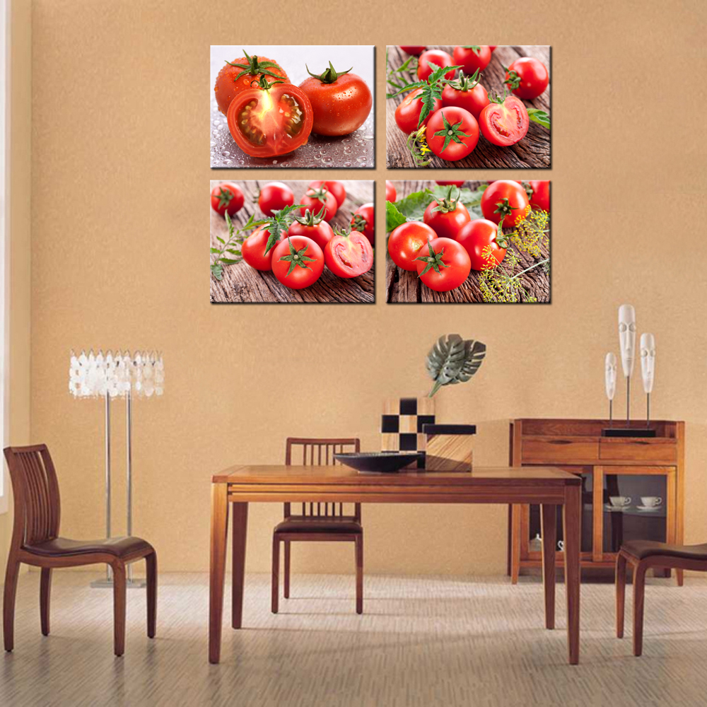 4 Panels Modern Printed HD Wall Pictures Tomatoes Home Decor Canvas Artwork  Paintings For Kitchen Decorative Murals 30x40cmx4pcs In Painting U0026  Calligraphy ...