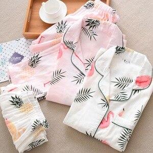 Image 2 - Pijamas de algodón de gasa de 100% de dibujos animados de flamencos, Conjunto de pijama de verano para mujer, manga larga fina, informal, ropa de dormir cómoda, pijamas de primavera para mujer