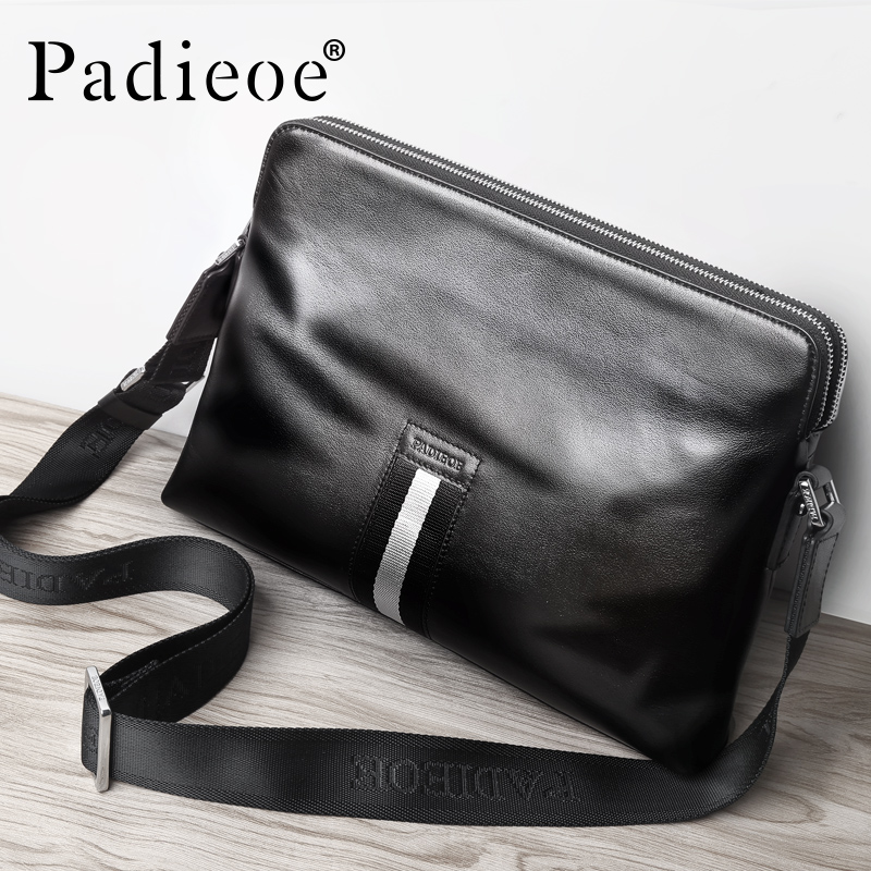 Padieoe High Quality Genuine Cow Leather Men Messenger Shoulder Bags Luxury Brand Man Crossbody Bag Business Casual Male Handbag aerlis brand men handbag canvas pu leather satchel messenger sling bag versatile male casual crossbody shoulder school bags 4390
