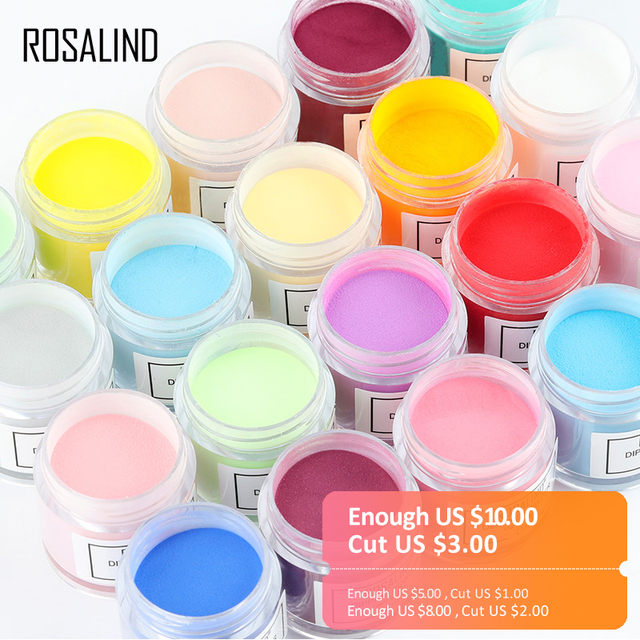 ROSALIND Dip Powder Set Nail Glitter French Nail Polish Holographic Manicure 10g Dry Chrome Pigment Dipping Powder For Nails Art