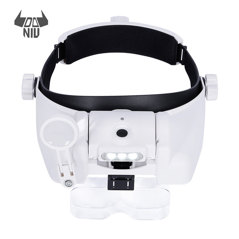 USB Rechargeable Magnifier Headband Magnifier With Illumination 3 LED Magnifier Lamp 1X 1.5X 2X 2.5X 3.5X 8X Magnifying Glass цена