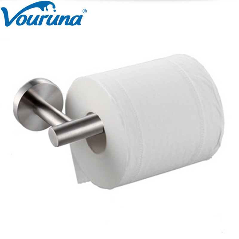 VOURUNA Sus 304 Stainless Steel Brushed Wall Mount Bathroom Toilet Paper Holder Supporter Toilet Roll Holder