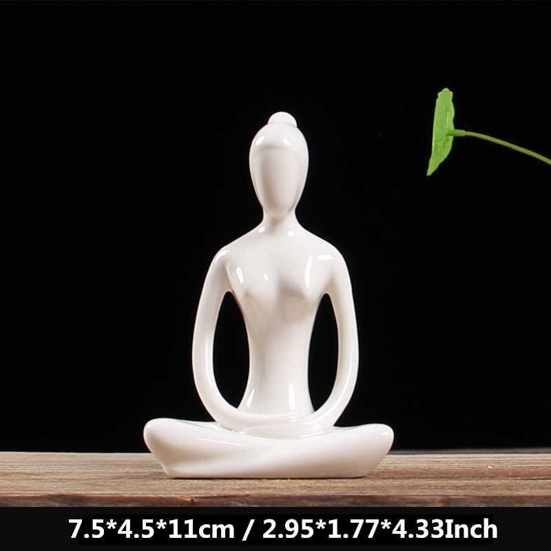 Vilead 12 estilos branco cerâmica yoga figurinhas ename yoga miniaturas abstrato yog stattues yoj estatuetas decoração da casa do vintage