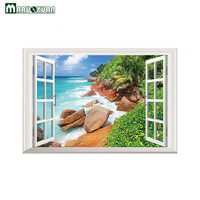 Maruoxuan 새로운 3D 바다 암초 풍경 창 스티커 침실 거실 배경 장식 PVC 벽 스티커 58*85 센치메터