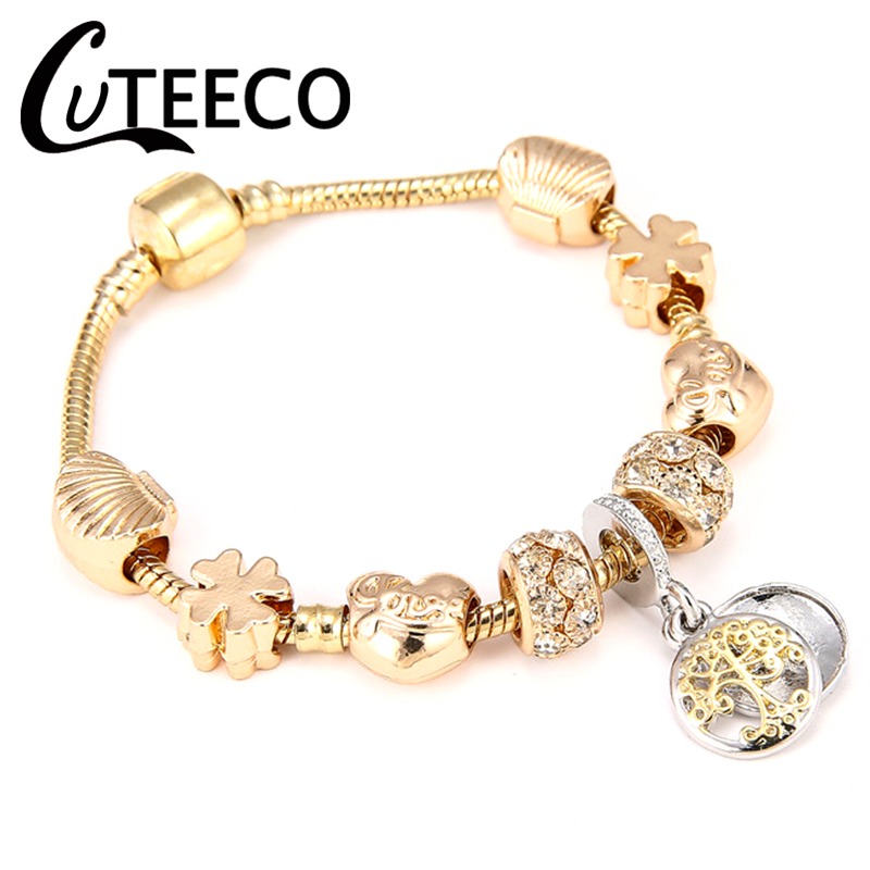 CUTEECO New Style Royal Crystal Crown Charm Bracelet Fit Gold Color Snake Chain Brand Bracelets & Bangles for Women Jewelry пандора браслет с шармами