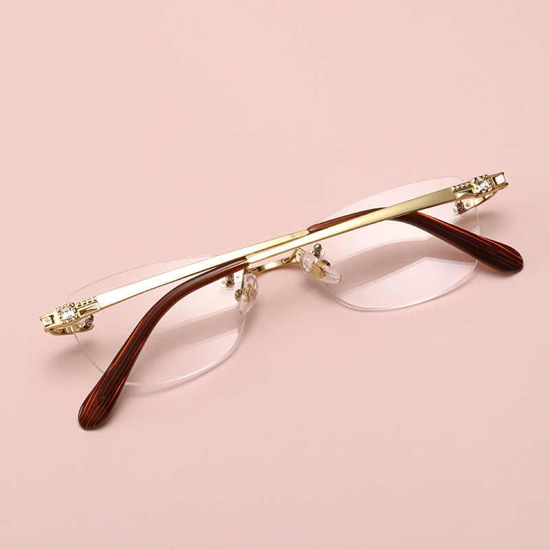 FAYIDI Classic Women Alloy Rimless Glasses Frames Myopia Optical Frame  Ultra-light Alloy Frameless Eyeglasses Frame #F153