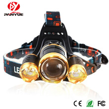 PANYUE USB Rechargeable Headlamp 3*LED XML T6 Headlight 3000 Lumens LED Headlamp Zoomable Head Flashlight Torch 4-Modes panyue camping hiking adjustable 3 modes led headlamp super bright xml t6 1000 lumens rechargeable waterproof led headlight