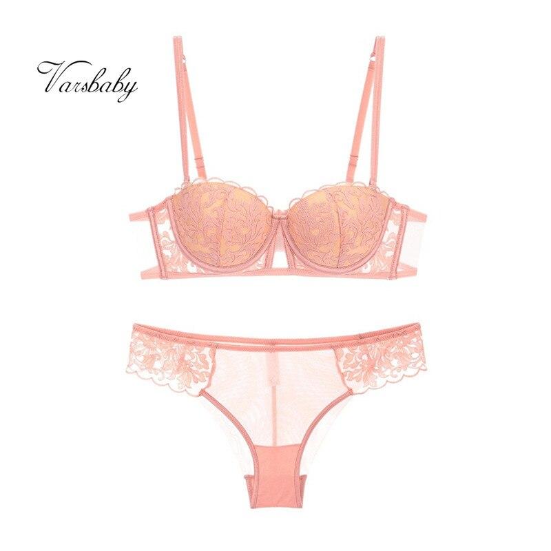 Varsbaby sexy embroidery push up underwear set underwire half cup BC cup  bra set for ladies-in Bra   Brief Sets from Underwear   Sleepwears on ... d346dcd72