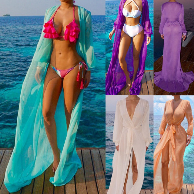 2019 Summer Women Cover Up Chiffon Kimono Beach Cardigan Bikini Cover Up Wrap Beachwear Long Dress Cover Up Beach Woman