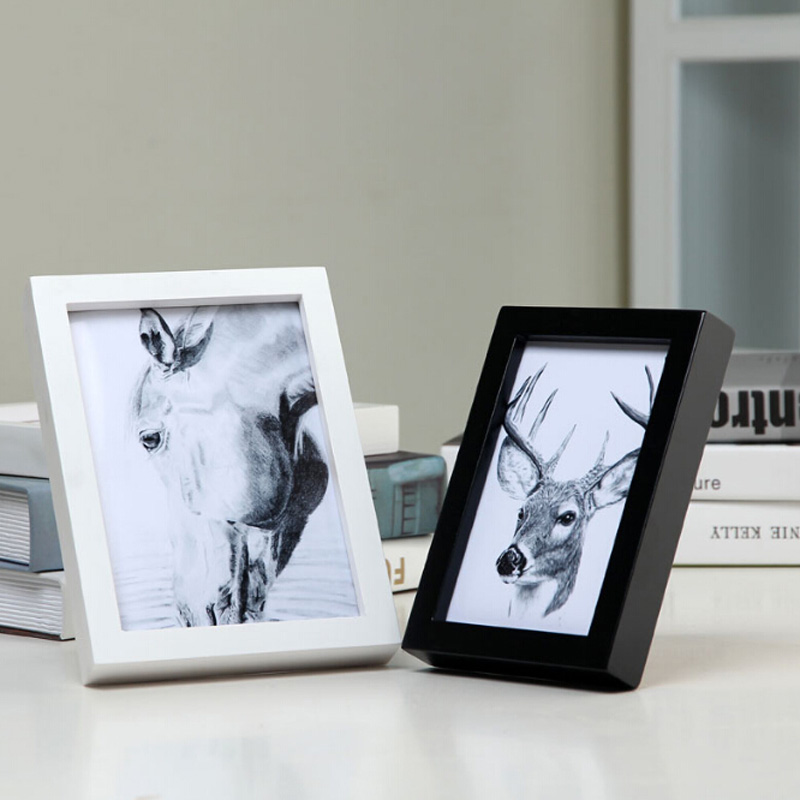 wall or desk dual use wood photo frame 567810 inch rectangle frame desk picture frames birthday wedding gift