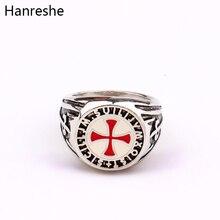 HANRESHE Ретро Красная эмаль крест щит кольцо Винтаж для мужчин серебряные кольца на палец Assassins ювелирные изделия Рыцари кольцо тамплиера