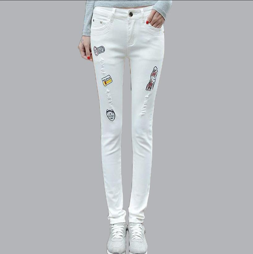 Sexy Casual Embroidery Jeans White Full Length Trousers Fashion High Waist Ripped Hole Skinny Pencil Pants