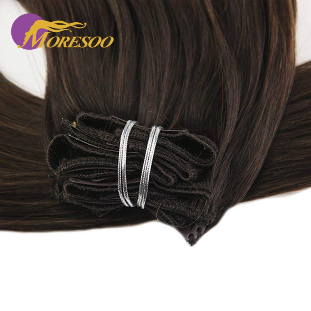 Moresoo Balayage Clip In Ombre Color Dip Dyed 7Pcs 100G Machine Remy Human Hair Extensions