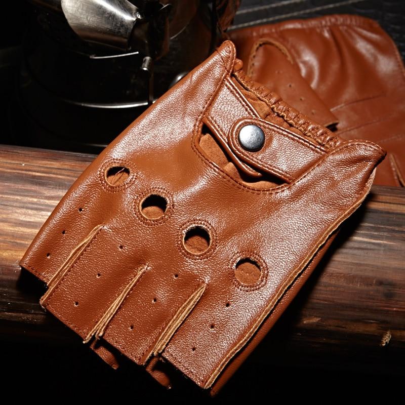 Мужские дышащие Нескользящие перчатки NAN7, черные, коричневые кожаные перчатки без пальцев для фитнеса, вождения