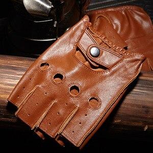 Image 1 - High Quality Mans Half Finger Gloves Breathable Non Slip Fitness Leather Fingerless Gloves Black Camel Driving Gloves Male NAN7