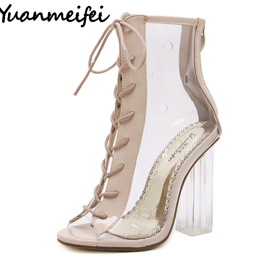 Yuanmeifei Women Summer Ankle Boots Peep Toe Bootie Clear Crystal Transparent Block Chunky High Heel Pumps