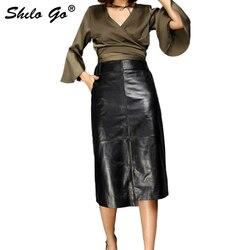 Lederen Rok Womens Herfst Mode schapenvacht lederen Rok hoge taille kantoor OL beknopte side pocket rokken