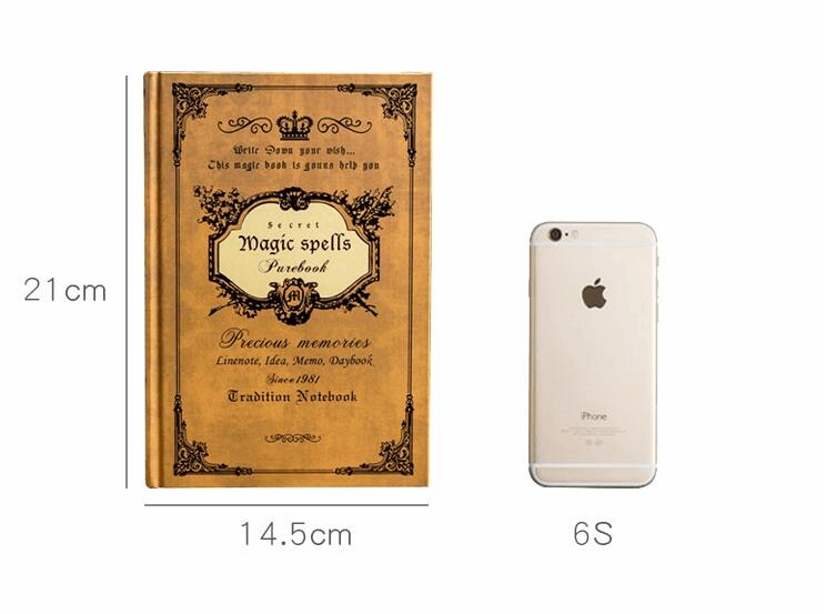 Very Thick Large A5 Vintage Notebook Magic Spells European Traditional Classic Diary Planner Hardcover