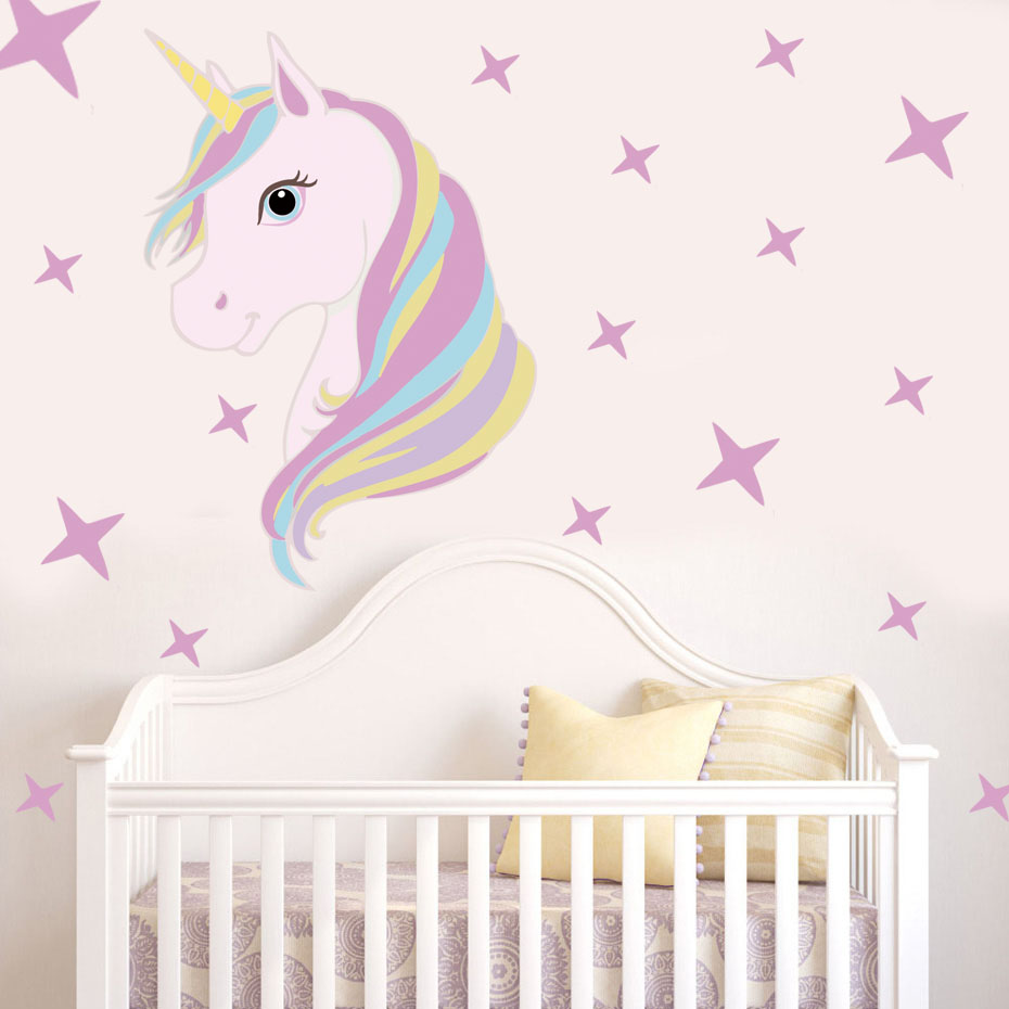 Lovely Unicorn With Star Art Stickers Cartoon Animal Unicorn Horse Wall Decal For Girls Room Diy Wallpaper PVC Home Decor
