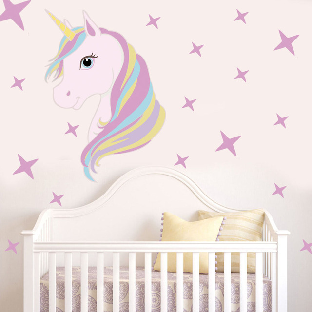 Lovely Unicorn With Star Art Stickers Cartoon Animal Unicorn Horse Wall  Decal For Girls Room Diy