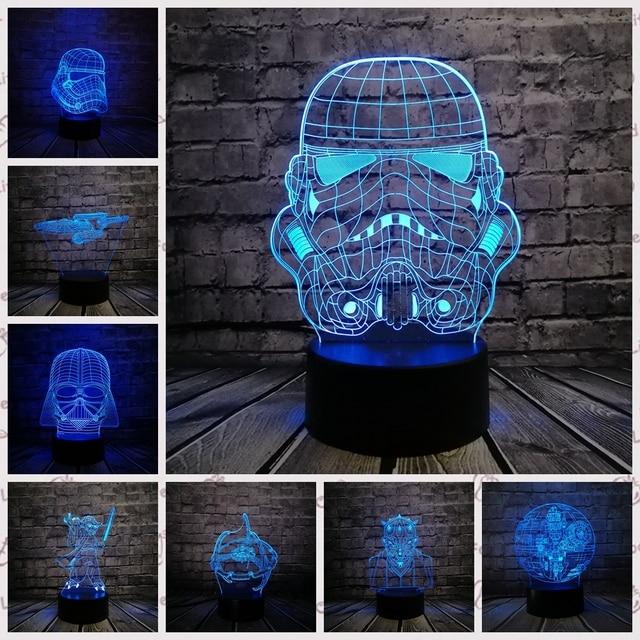2019 NEW 3D Lamp Stormtrooper Knight Yoda Jedi Warrior Trek Death Star War LED NIGHT LIGHT Multicolor Cartoon Toy Luminaria LAVA